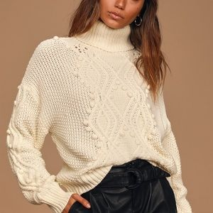 Delightfully Cozy Cream Cable Pompom Knit Sweater
